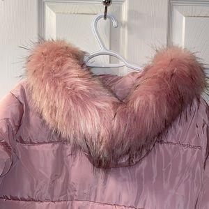 Women's pink hooded 3xl puffer coat by M.S.K.Z .X